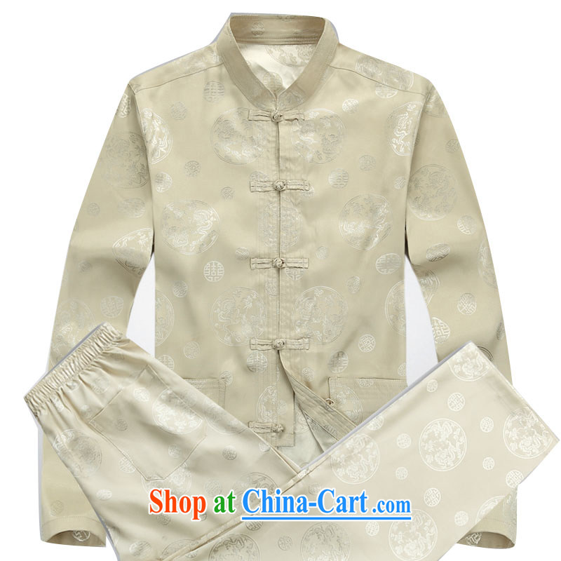 The chestnut mouse new, middle-aged and older Chinese summer wear long-sleeved T-shirt, shirt collar middle-aged men with short T-shirt Dad loaded male beige Kit XXXL