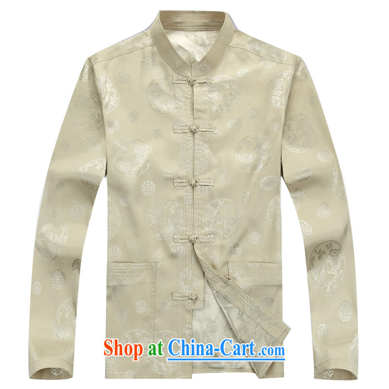 The chestnut mouse new, middle-aged and older Chinese summer wear long-sleeved T-shirt, shirt collar middle-aged men with short T-shirt Dad loaded male beige Kit XXXL, the chestnut mouse (JINLISHU), shopping on the Internet