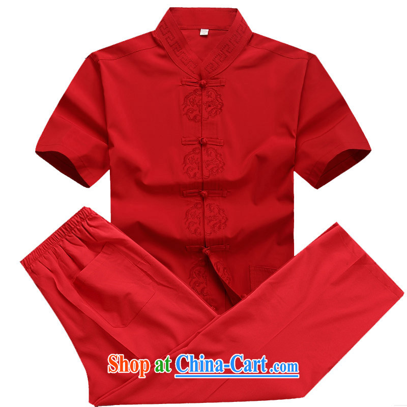 Putin's European Chinese men and package summer short-sleeved Tang package installed in older men's father Red Kit XXXL/190