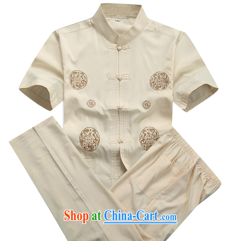 Putin's European men Tang replace short-sleeved Kit spring and summer with long-sleeved, older Chinese short-sleeve kit jogging with leisure package Han-beige Kit XXXL/190
