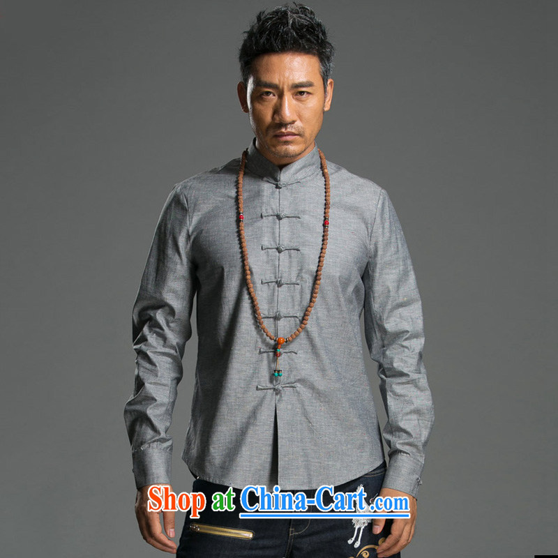 Internationally renowned 2015 China wind spring men's Chinese cotton Ma Sau San disk for the Chinese Government for solid color linen shirt improved Chinese Gray Movement _2_ XL