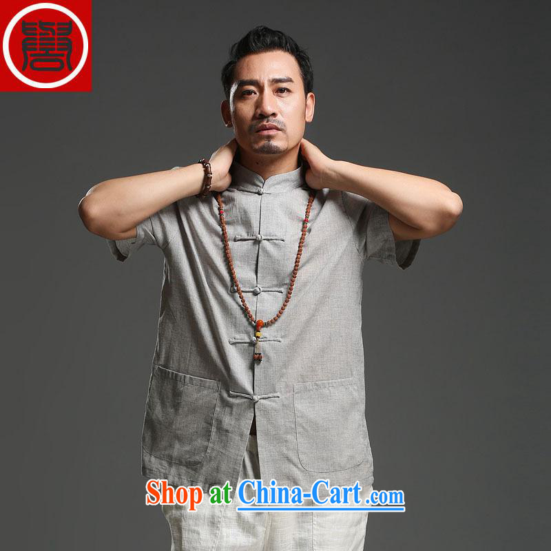 Internationally renowned men Tang is the leading men's casual cotton mA short-sleeve men's solid color Tang with breathable T-shirt summer new light gray _4 XL_