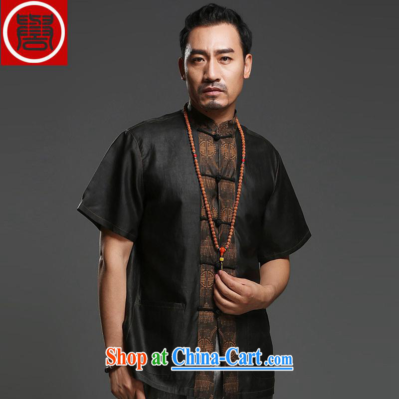 Internationally renowned men's Silk short-sleeved Chinese male Chinese shirt sauna silk shirt Hong Kong cloud yarn men's short-sleeved Tang black large 175