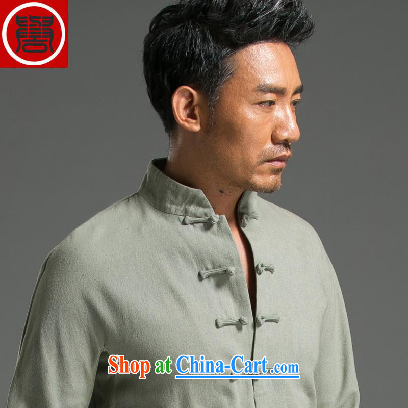 Internationally renowned Chinese style retro denim Chinese men's long-sleeved Chinese, for the charge-back relaxed and modern national costumes in green L