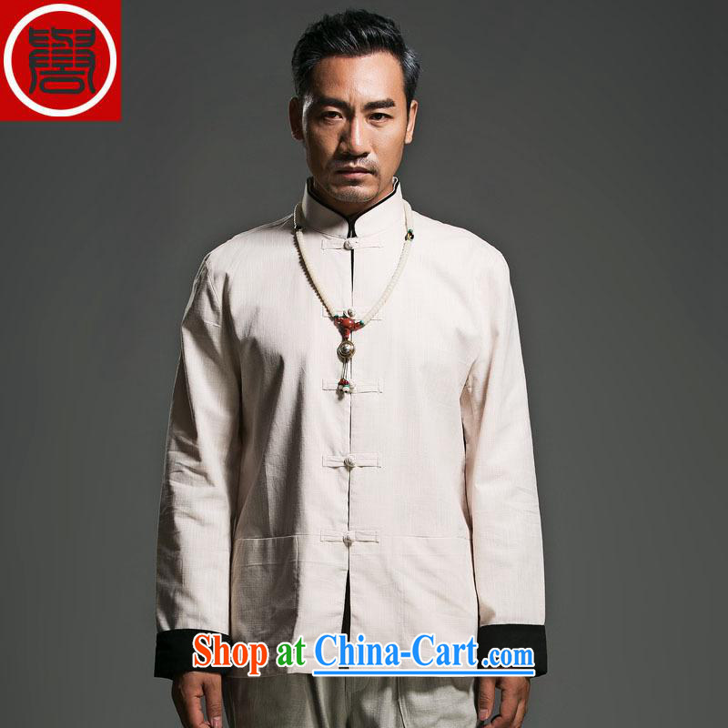 Internationally renowned Choo, linen Solid Color Tang with long-sleeved loose China wind men's jackets and fasten the nation wind m yellow large (175)