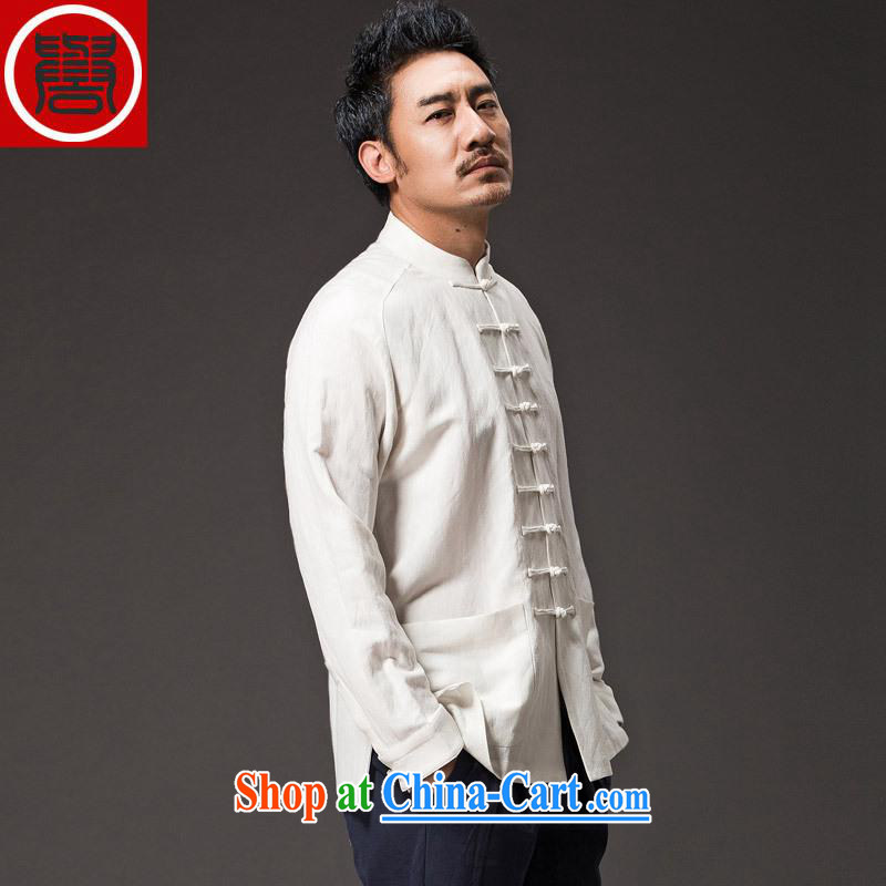 Internationally renowned Chinese male Chinese wind spring long-sleeved Ethnic Wind Chinese, apply for a new smock-tie Han-men and white 4 XL