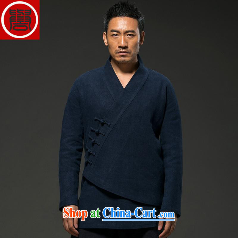 Internationally renowned Chinese wind fall and winter men's cotton the Chinese long-sleeved improved Han-cynosure practice serving loose the hard-pressed T-shirt Chinese-tie blue _L_