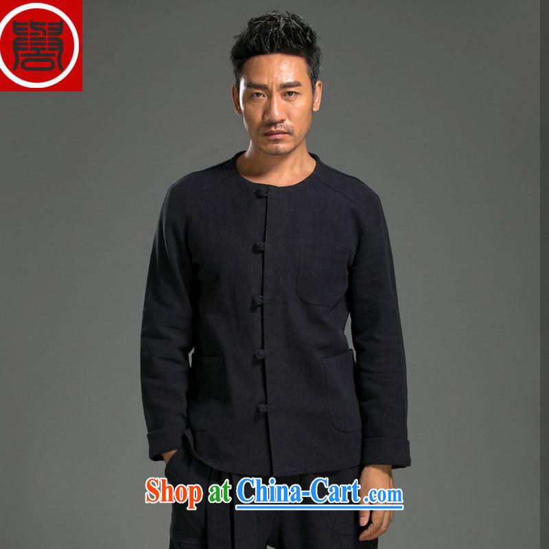 Internationally renowned Chinese wind men's shirts long-sleeved T-shirt kung fu T-shirt men's kit Chinese round-collar cotton Ma Sau San simple ethnic wind dark blue XXL