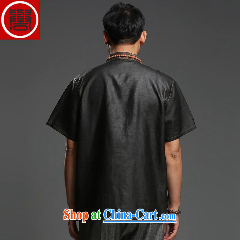 Internationally renowned Father's Day men's Chinese silk fragrant cloud yarn men's short-sleeved T-shirt Chinese male, summer for black, 170, internationally renowned (CHIYU), shopping on the Internet