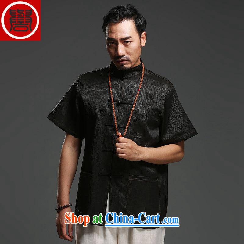 Internationally renowned sauna silk Ethnic Wind Chinese middle-aged and older men with silk fragrant cloud yarn T-shirt short-sleeved silk Tang black 170