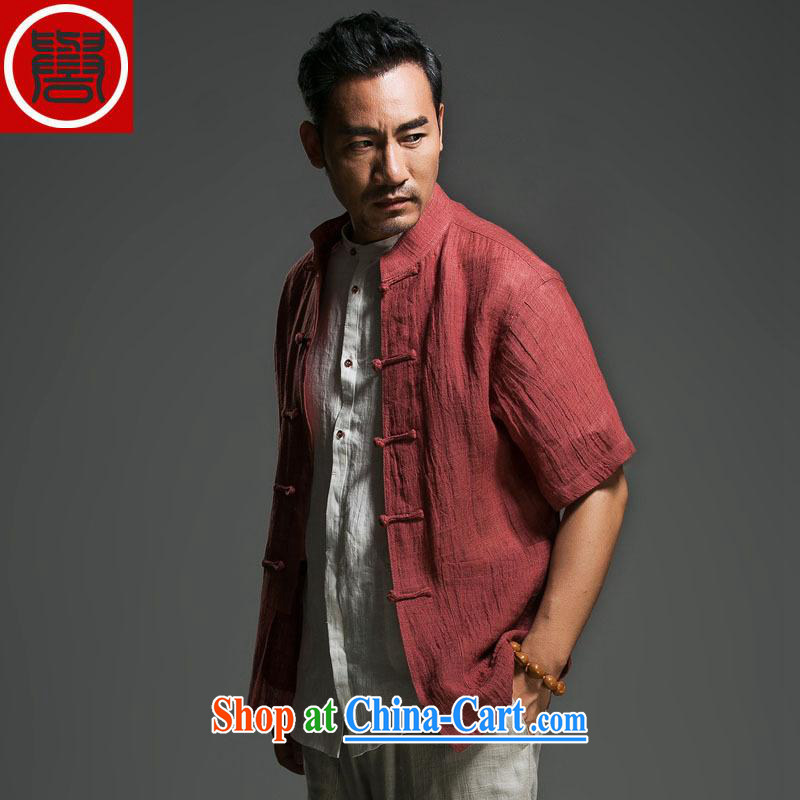 Internationally renowned Chinese men's cotton the commission short-sleeved, older Chinese short-sleeved the temperament the buckle clothing national service men's summer wine red _170_