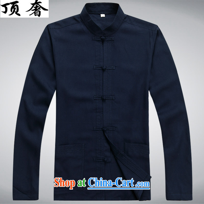 Top Luxury men's Tang Mounted Kit spring, and for the charge-back Tang with long-sleeved Tang is set loose version father loaded exercise clothing jogging Kit dark blue Kit XXXL/190, top luxury, shopping on the Internet