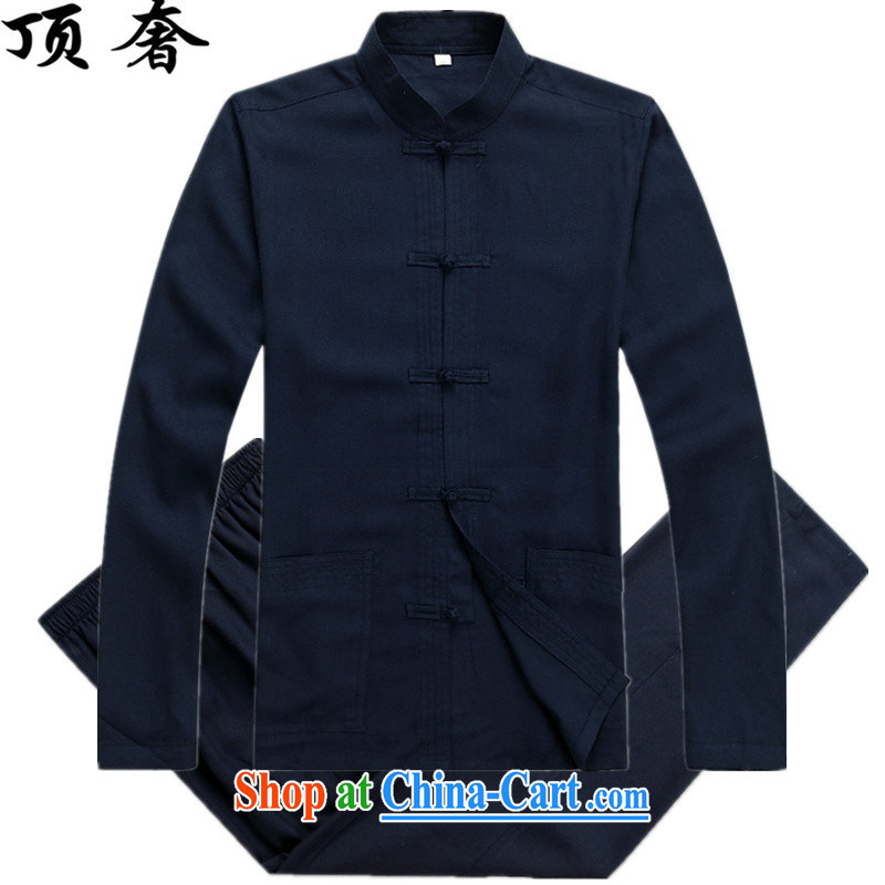 Top Luxury� spring 2015 New Men's Tang is set up for the charge-back Tang replacing long-sleeved Tang is set loose version father loaded exercise clothing blue Han-dark blue Kit XXXL/190