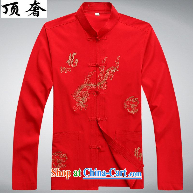 Top Luxury men's Tang with long-sleeved set loose version, shirt for China wind-tie Han-white embroidery Chinese Kit festival in dress older package red package 43/190, and the top luxury, shopping on the Internet