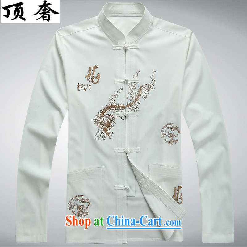 Top Luxury men's Tang with long-sleeved set loose version, shirt for China's wind-tie Han-red-colored embroidery Tang package installed with Father white Kit 43/190, the top luxury, shopping on the Internet