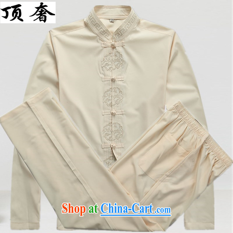 Top Luxury autumn new Chinese men's T-shirt men and older persons in the service of the China wind men's long-sleeved Kit exercise clothing father replace the life dress beige Kit 43_190