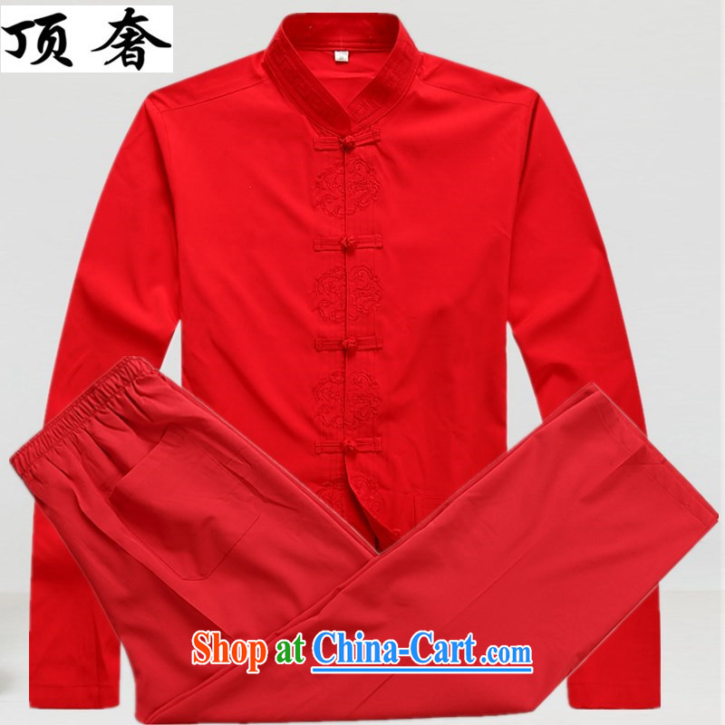 Top Luxury �summer new Chinese men's long-sleeved T-shirt men and older persons in Han-Chinese wind men's long-sleeved cuff kit clothes with his father Han-red 43/190