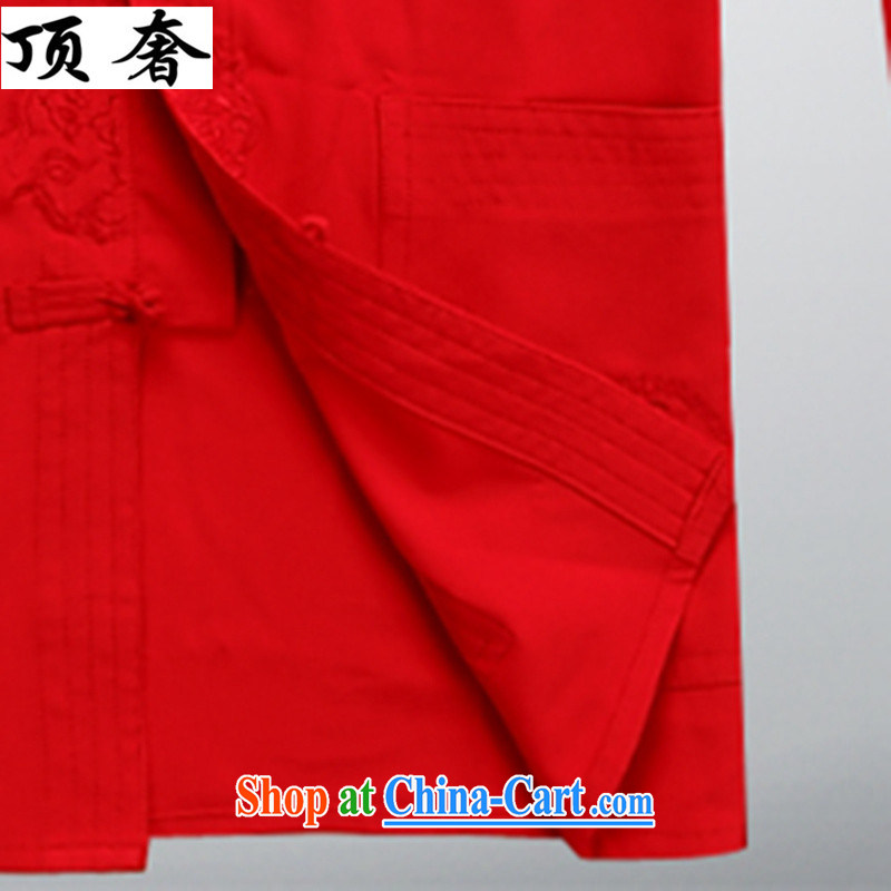 Top Luxury summer new Chinese men's long-sleeved T-shirt men and older persons in Han-Chinese wind men's long-sleeved cuff kit clothes with his father Han-red 43/190, and with the top luxury, and, on-line shopping