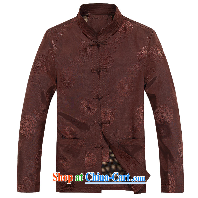 The chestnut mouse New Men's Tang jackets long-sleeved T-shirt, for Chinese wind and rain jacket, Older ethnic costumes, Chinese collar male and colored XXXL