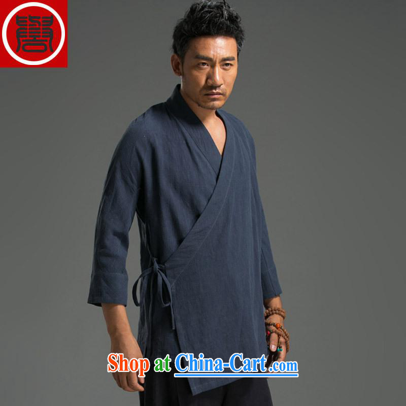 Internationally renowned Chinese wind men's casual linen V collar 7 cuffs, served men's Chinese jacket Chinese Tea Service Nepal clothing personalized clothing blue are code