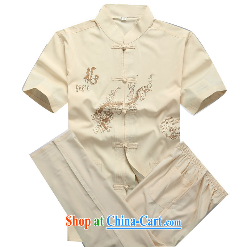 Beijing the Chinese package summer thin China wind-buckle old men short-sleeve Chinese package Cornhusk yellow package XXXL/190