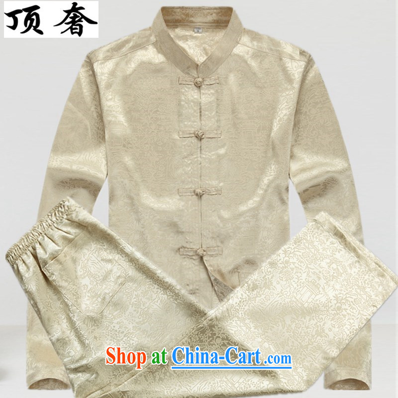 Top Luxury Spring and Autumn 2015 new long-sleeved Tang is set up for the service the charge-back relaxed version China wind older Kit Tai Chi Tang replace the collar shirt beige Kit 43/190