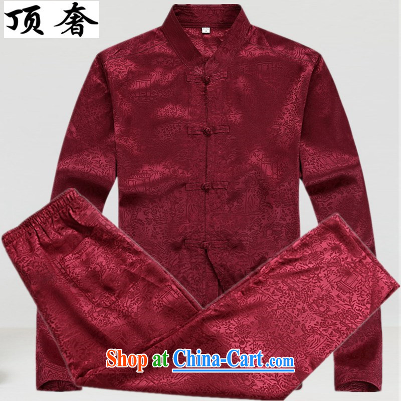 Top Luxury Spring and Autumn 2015 new long-sleeved Tang is set up for the service the charge-back relaxed version China wind older Kit Tai Chi Tang replace the collar shirt Red Kit 43/190