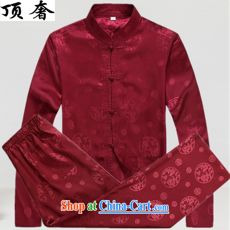 Top Luxury Spring and Autumn 2015, men's Tang is set loose version, for the charge-back red thin, served the Life dress, older Tang package red package XXXL/190