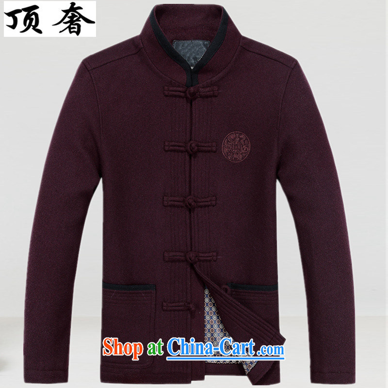 Top Luxury 2015 autumn and winter, men's wool that Tang is a collar thick Chinese wind men's T-shirt men's jackets jacket Han-chinese Chinese men and wine red 190