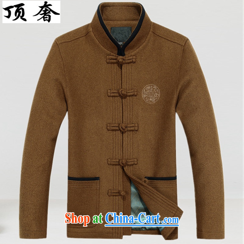 Top Luxury men's wool that Chinese men's long-sleeved Chinese T-shirt his father had clothing, older gift men's national costumes Chinese jacket and dark brown 190