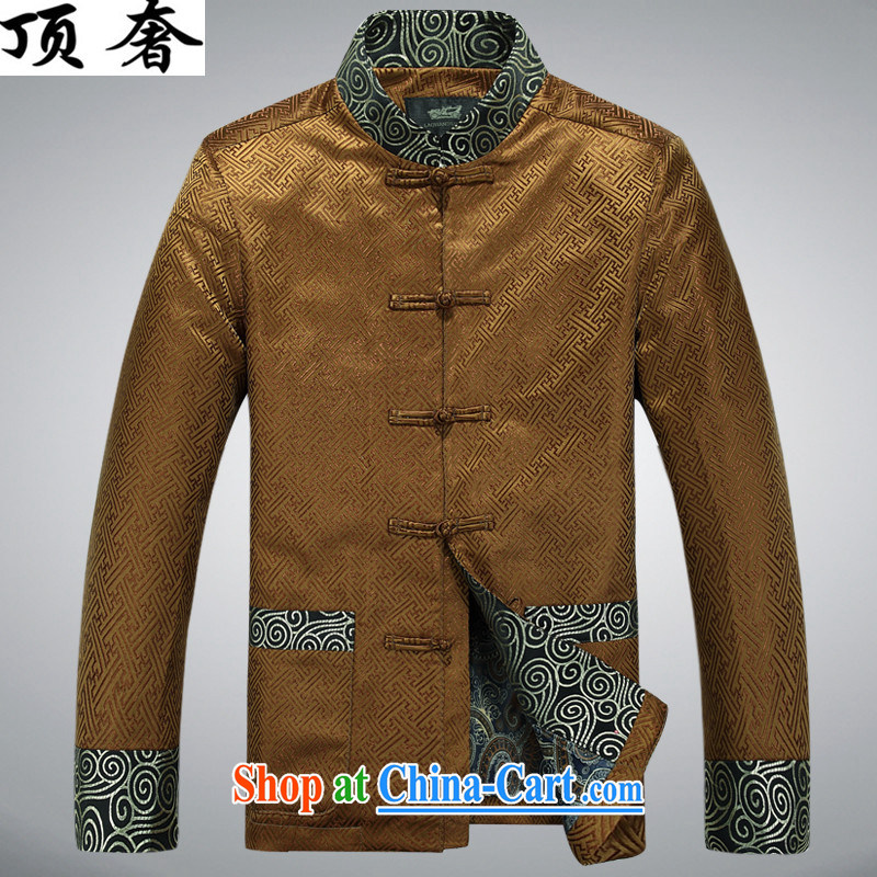 Top Luxury silk Chinese Spring 2015 new, jacket for men Chinese China's long-sleeved wind men's jackets Chinese Dress Casual Chinese T-shirt Gold T-shirt XXXL_190