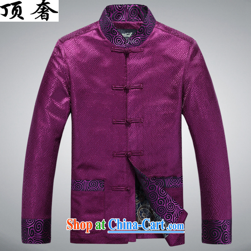 The top luxury silk Chinese Spring 2015 new, jacket for men's Chinese long-sleeved Chinese wind men's jackets Chinese Dress Casual Chinese T-shirt purple shirt XXXL_190