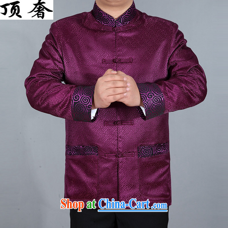 The top luxury silk Chinese Spring 2015 new, jacket for men's Chinese long-sleeved Chinese wind men's jackets Chinese Dress Casual Chinese T-shirt purple shirt XXXL/190 and the top luxury, shopping on the Internet