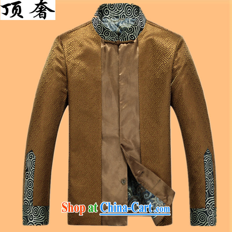 Top Luxury silk Chinese Spring 2015 new, jacket for men Chinese China's long-sleeved wind men's jackets Chinese Dress Casual Chinese T-shirt Gold T-shirt XXXL/190
