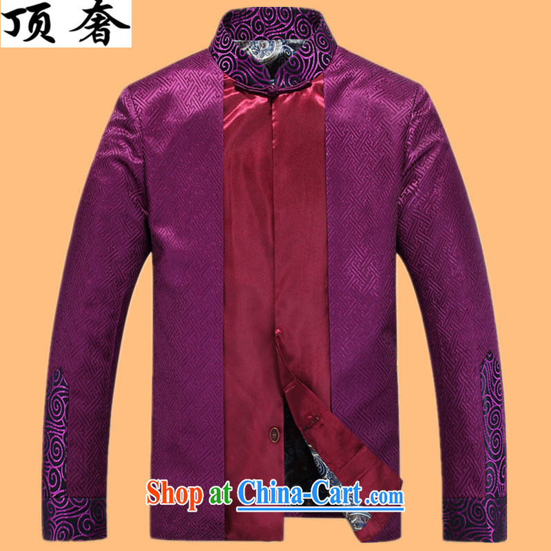Top Luxury silk Chinese Spring 2015 improved the collar jacket men's Chinese long-sleeved聽Chinese wind men's jackets Chinese Dress Casual Chinese T-shirt purple shirt XXXL_190
