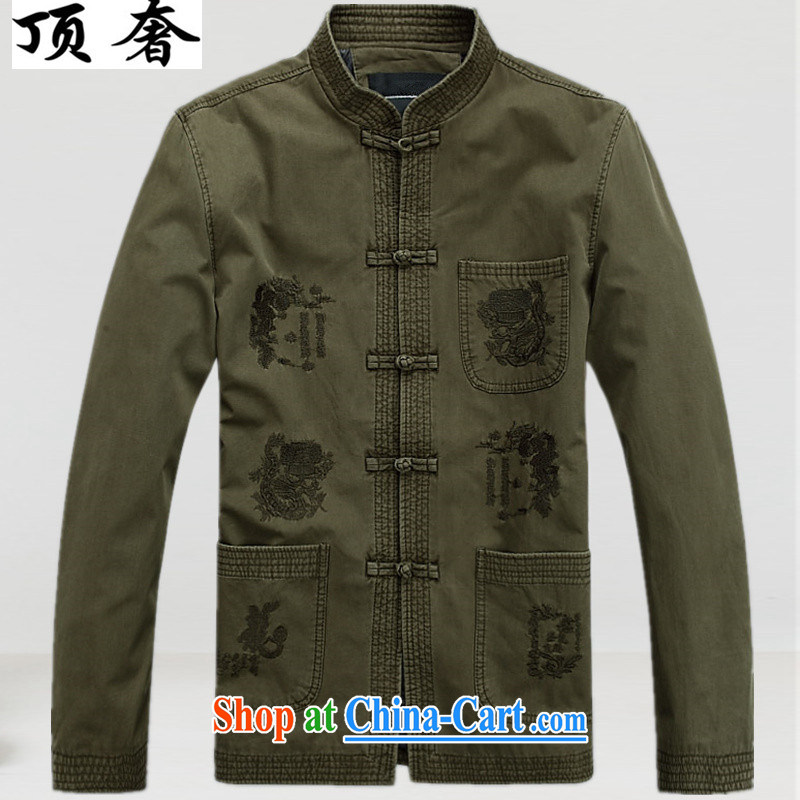 Top Luxury Cotton Men's Chinese T-shirt loose version China wind up for the charge-back army green Han-chun, cotton men's Tang jackets, older Chinese tea light color 190