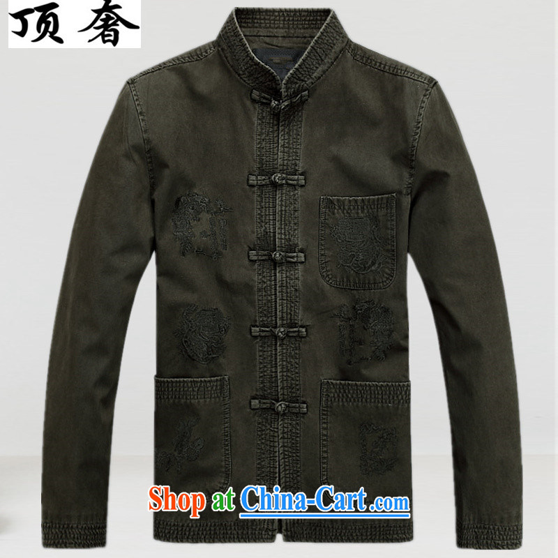 Top Luxury spring Pure Cotton Men's Chinese T-shirt loose version China wind up for the charge-back army green Han-cotton men's Tang jackets, older Chinese deep coffee color 190