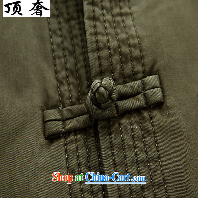 Top Luxury, spring and autumn Cotton Men's Chinese T-shirt loose version China wind up for the charge-back army green Han-cotton men's Tang jackets, older Chinese deep coffee-colored 190, and with the top luxury, and, on-line shopping