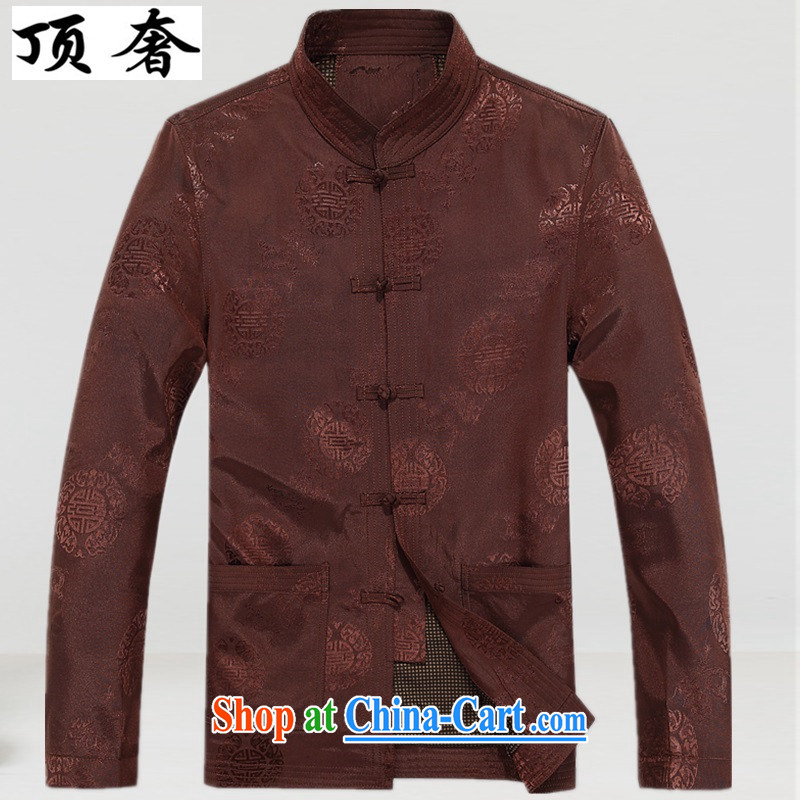The top luxury men's jackets fall in with older persons with Mr TANG men's long-sleeved birthday life Chinese Dress old jacket?loose men Chinese T-shirt red jacket and coffee-colored, XXXL_190