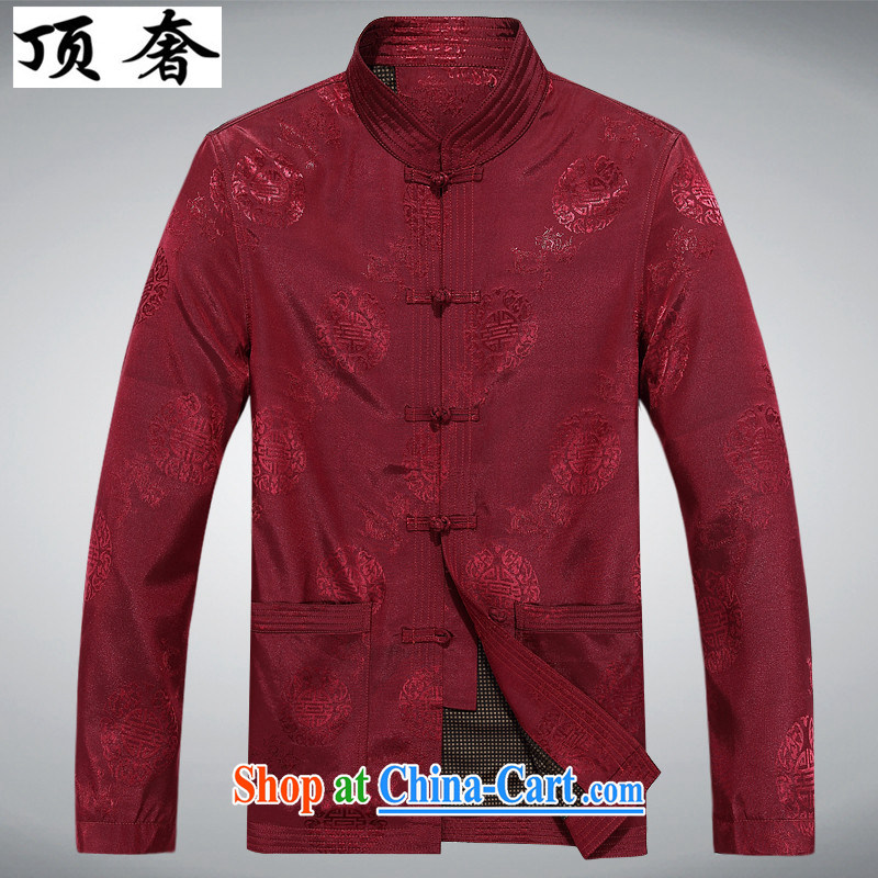 Top Luxury autumn 2015 with older people in Chinese men's long-sleeved birthday life Chinese dress jacket elderly men Chinese T-shirt red jacket men's red, XXL_185