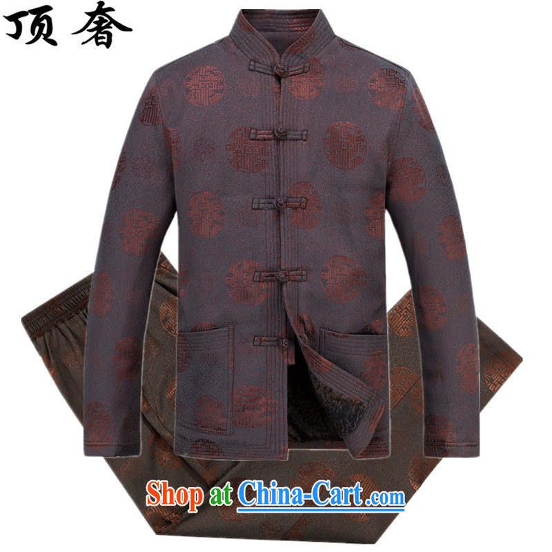Top Luxury autumn and winter, male Tang jackets, for the charge-back Tang fitted T-shirt Dad replace the lint-free cloth thick Tang fitted jacket red, older men, served coffee-colored package XXXL_190