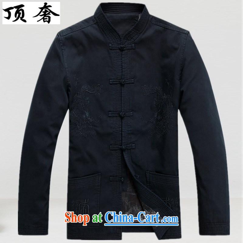 Top Luxury, spring and autumn the older Chinese T-shirt Chinese wind Cotton Men Chinese men's long-sleeved jacket Chinese classical Han-Nepal and served a life dress Black blue XXXL_190