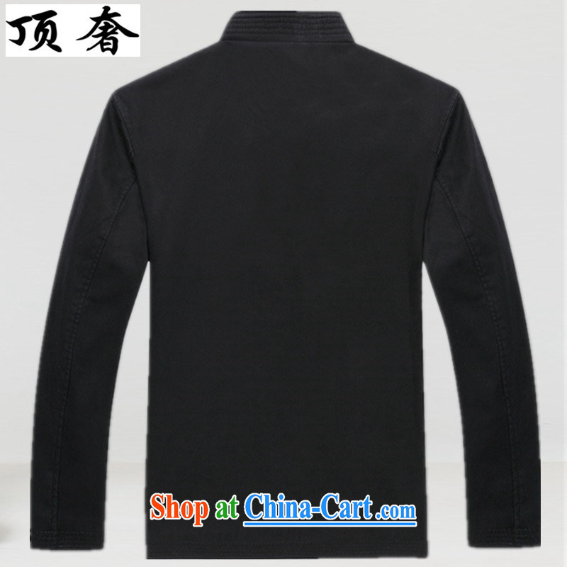 Top Luxury, spring and autumn the older Chinese T-shirt Chinese wind Cotton Men's Chinese men and long-sleeved jacket Chinese classical Han-Nepal and served a life dress Black and Blue XXXL/190 and the top luxury, shopping on the Internet