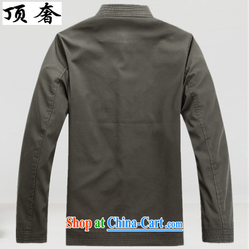 Top Luxury, Spring and Autumn and the older Chinese T-shirt Chinese wind Cotton Men's Chinese men's long-sleeved jacket Chinese classical Han-cynosure of service men's jacket dark gray XXXL/190, with the top luxury, shopping on the Internet