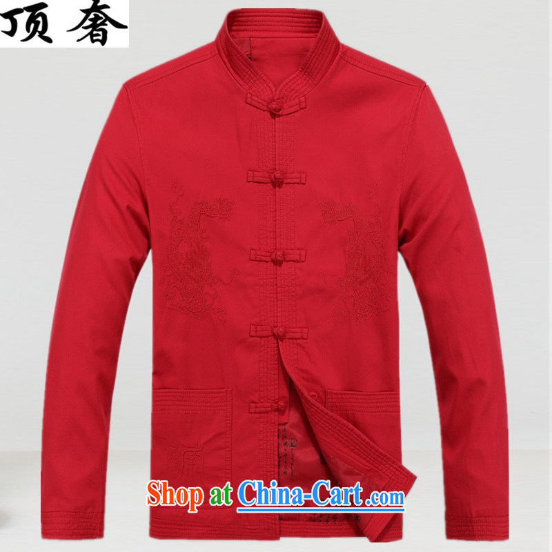 Top Luxury cotton Chinese T-shirt, collar loose version for the Chinese wind men Chinese men's jackets red birthday life Chinese Dress, older persons jacket red Chinese shirt XXXL_190