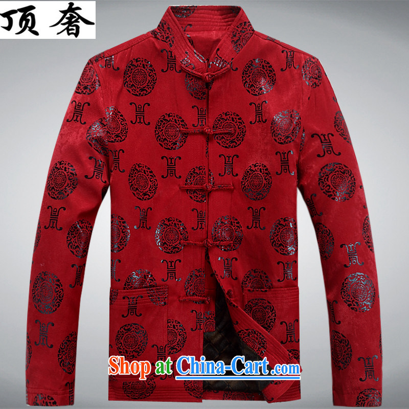 Top Luxury autumn and winter, Chinese T-shirt loose version, for the charge-back men's jackets, old men Chinese jacket father with Chinese Han-old Chinese red the lint-free cloth XXXL/190