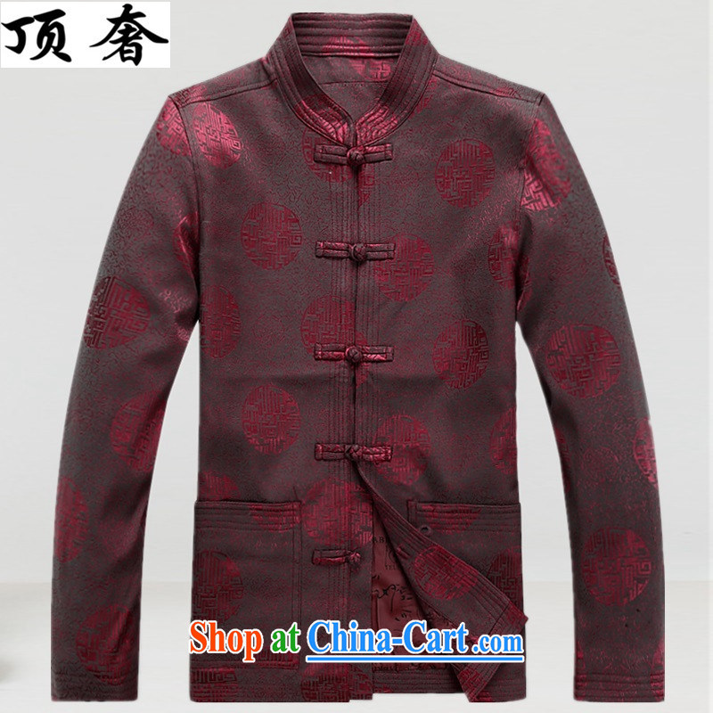 Top Luxury 2015 new Chinese, for men with short spring and autumn jacket long-sleeved T-shirt birthday congratulations service blue men Han-jacket men's father red, Tang replace XXXL/190