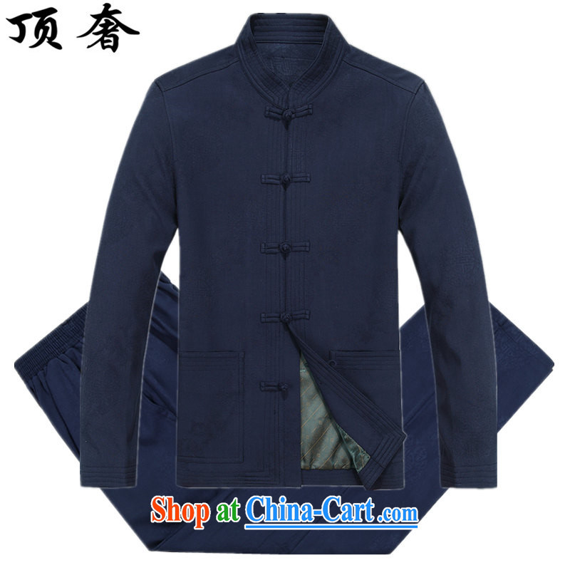 Top Luxury 2015 from Iron Man Tang is included in the kit the new autumn and winter long-sleeved China wind Blue Lounge Tai Chi jogging ethnic Han-grandfather Tang replace 8801, blue package XXXL_190