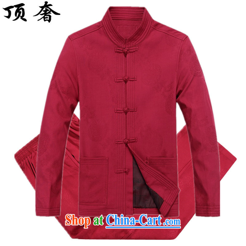 Top luxury Chinese men's long-sleeved jacket China wind men's clothing Chinese clothing Chinese clothing men's cotton cotton shirt red Chinese package China wind the life dress Chinese male 8801, red XXXL_190