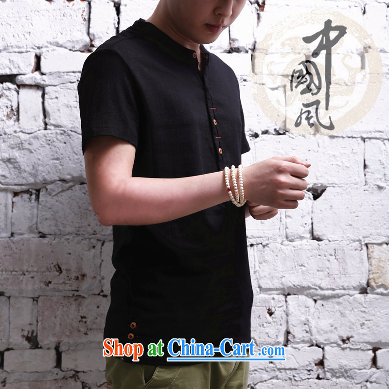 2015 men's short-sleeved cotton shirt Yau Ma Tei, for Korean Solid Color casual linen shirt click the buckle black 5 XL .